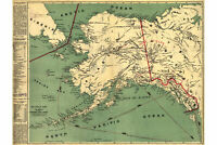 Gold Rush Map; Alaska Klondike Gold Fields, 1884, Vintage Historic Cartography