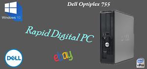Dell Optiplex 755 Intel E6750 4Gigs 250Gig HDD Windows 10 Pro 64x