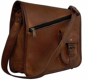 Men's Real 1 Front Pocket Leather Vintage Laptop Messenger Briefcase Satchel Bag