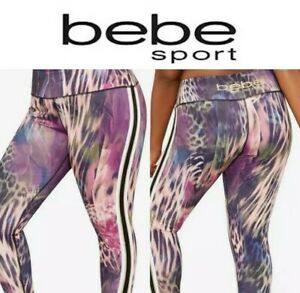 Bebe Sport Active Workout Leggings Cheetah 1x Plus Size