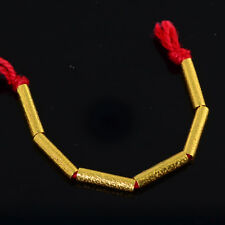 10mmx2.3mm 18k Solid Yellow Gold Textured Tube Spacer Findings Beads 2.4 Inches