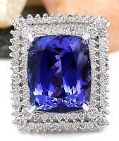 21.58 Carat Natural Tanzanite 14K Solid White Gold Diamond Ring