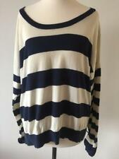 New Look Women's Navy Blue and Cream Striped Cotton Blend Jumper Size 16 (19)