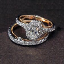 Women 1Pair Ring/Set Rose Gold Filled White Topaz Wedding Engagement Size 6-10