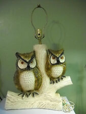 Vintage Lamp Chalkware Owls  Mid-Century Modern  1970's Decor ~ No Shade