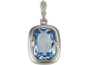 Art Deco 830 Silber Blautopas floraler Damen Anhänger!