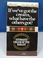 STEWARTS SCOTCH WHISKY CREAM OF THE BARLEY MATCH BOX COVER MATCHBOOK VINTAGE