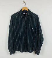 Quiksilver Mens Shirt Button Up Size Small Black Pinstripe Long Sleeve