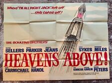 HEAVENS ABOVE! ORIGINAL BRITISH MOVIE POSTER! Peter Sellers 1963 Comedy Film