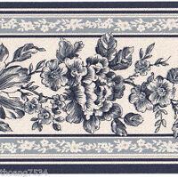 Victorian Blue White Flower Floral Rose Vine Leaf Toile Stripe Wallpaper Border