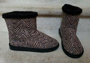 New Vera Bradley Women's Cozy Zebra Print Slipper Boots Thick Soles Women's 7-8M