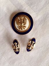Vintage 1940s WWII Patriotic Eagle Metal And Enamel Pin And Earring Set Rare