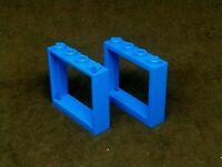 Lego Window Pane 1x4x3, No Shutter Tabs [60594] - Blue x2