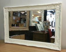 French Style Ornate Vintage Design Bevelled Wall Mirror 60x90cm White New