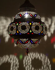 Moroccan Glass Chandelier Antique Vintage Lighting Fixture Pierced Brass Engrave