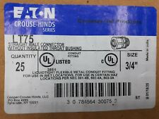 "25 LT75 Eaton Couse Hinds 3/4"" Straight Liquid Tight  Connector Case of 25"