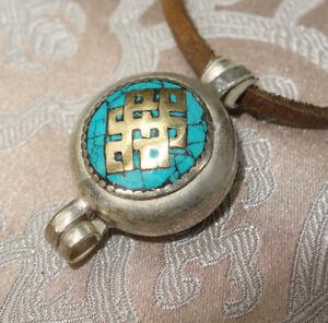 Tolles Tibet. AMULETT GAU aus NEPAL Türkis Endloser Knoten für endlose Liebe