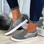Womens Faux Leather Zipper Loafers Pumps Casual Slip On Flat Comfort Shoes