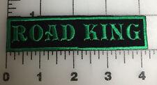 "Custom  Biker Vest Patch ROAD KING  4""X 1"" GREEN"