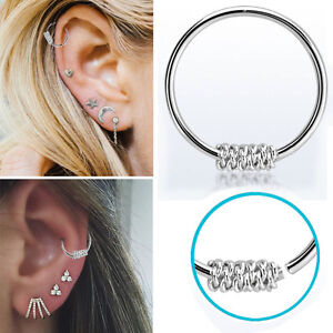 1-4 Silver Spiral Wire Tribal Piercing 22g Nose Ear Lip Clip Illusion Hoop Rings