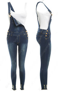 NEW DUNGAREE STRETCH DENIM SKINNY FIT Womens Size 8 10 12 14 DUNGAREES Jean Blue