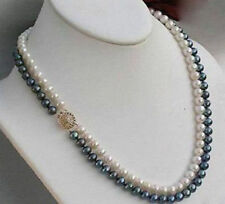"2 Rows 18"" 9-10 mm Black & White Akoya SOUTH SEA Pearl Necklace 14K Gold Clasp"
