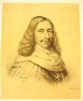 Lithography of J-B Mauzaisse 1823: Armand Jean / the Plessis Cardinal Richelieu