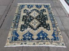Vintage Worn Hand Made Traditional Oriental Wool Faded Blue Brown Rug 182x145cm