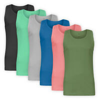 Men Stretch Cotton Ribbed Vest Top Casual Sleeveless T-Shirt Basic Tee S-3XL