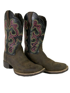 """Ariat 10004170 Quickdraw 11"""" Brown Pink Square Toe Cowgirl Western Boots Sz 6 B"""
