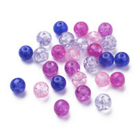 100pcs/bag Mixed Baking Painted Crackle Glass Bead Valentine Round Jewelry Loose