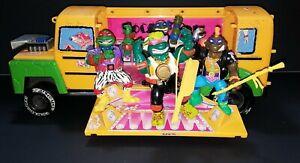 Vintage TEENAGE MUTANT NINJA TURTLES TMNT Rock N Roll Muta Bus Set Lot 1994