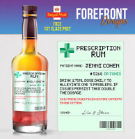 Personalised Prescription Spiced Rum bottle label, Perfect Birthday/Xmas/ Gift