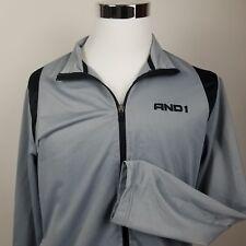 And1 Men's Jacket Warm Up Sweat Basketball Long Sleeve Full Zip Gray, M Medium
