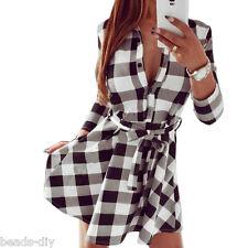 Women's Classic Plaid Check Bodycon Long Sleeve Casual Grid Shirt Mini Dress Lot