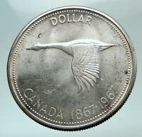 1967 CANADA CANADIAN Confederation Founding with GOOSE Silver Dollar Coin i82165