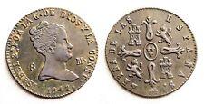 España-Isabel II. 8 Maravedis. 1842. Segovia. EBC/XF. Cobre 10,1 g. Escasa asi.