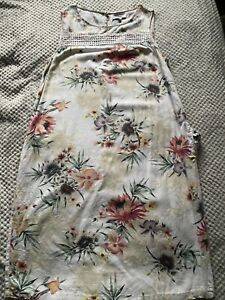 ❤️Next linen blend shift dress size 16T Floral cream excellent used condition!❤️