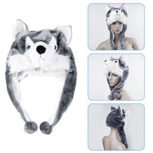 Wolf Hat Cute Fluffy Kids Cap Cartoon Animal Style Soft Warm Earmuff Plush Hat~