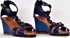 LIBBY EDELMAN size 6.5W L-BANI navy-blue wedge-heel T-strap sandals all synth.