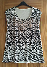 Evans New Pink Cream Ombre Toned Aztec Print Embellished Tunic Top 18 - 24