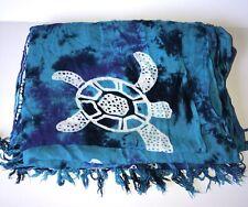Batik Fringed Blanket Scarf Wrap Large Blue Boho Artsy Shawl 46 X 60 Sea Turtles