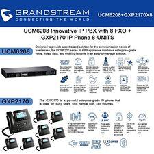 Grandstream UCM6208 IP PBX with 8 FXO + GXP2170 8-UNITS IP Phone New