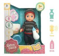 """14"""" BABY DOLL WITH FEEDING BOTTLE Sounds Girls Cuddle Toy Xmas Gift Set Female"""