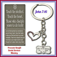Teachers Christian Key Chain & Prayer Card Reaching by Teaching  John 7:16