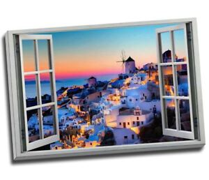 """Greek Islands Holiday Sunset View 3D Window Effect Canvas Print Large 30x20"""""""