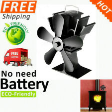 5 Blades Fireplace Fan Thermal Fire Heater Power Wood Stove Fan Household Eco Qu