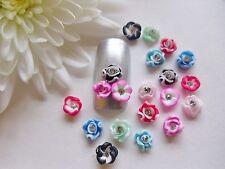 20 Piezas X 3d Fimo Arcilla Nail Art Mix Color Flores Rhinestone Decoración Artesanía