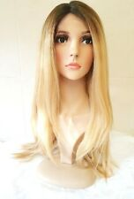 Parrucca Di Capelli Umani Biondi Anteriore Pizzo Long Bleach Blonde Sfumatura DARK radici