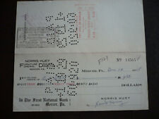 Cheque from The First National Bank, Mercer, Pennsylvania - 1928